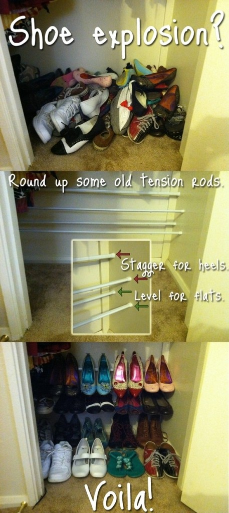 Ways to store heeled shoes: tension rods