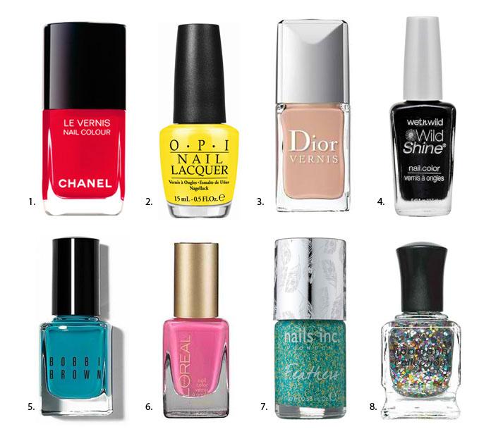 8 nail polish hues